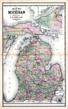 Michigan, United States 1885 Atlas of Central and Midwestern States
